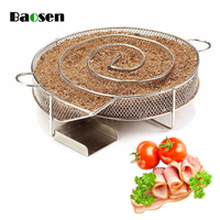 Baosen Cold Smoke Generator for BBQ Grill or Smoker Wood dust Hot and Cold Smoking Salmon Meat Burn Cooking stainless bbq Tools
