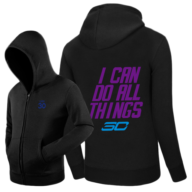 ae2bfe4a4ee Stephen Curry I CAN DO ALL THINGS logo Warriors Zip-up hoodie sweatshirt  cotton Jacket