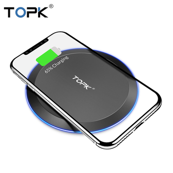 TOPK B46W 10W Draadloze Oplader Voor iPhone X/XS Max XR 8 Plus Snel Opladen voor Samsung S8 s9 Note 9 8 Telefoon Oplader Pad