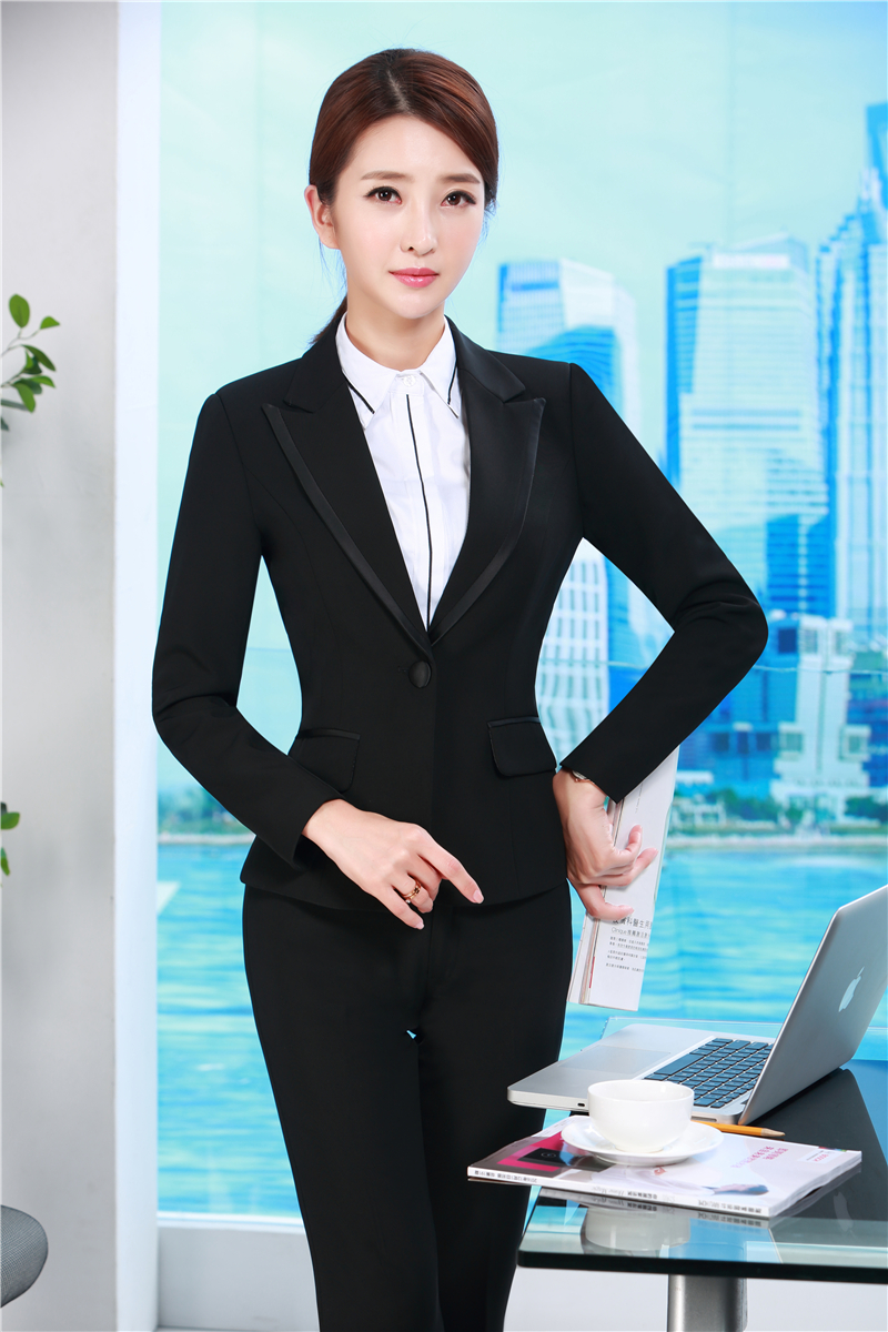 Formelle D'affaires Conceptions Uniformes Bureau Femmes Ensemble Vestes Travail Noir Dames Blazer Et Pantalon Style Costumes Ol xqRgOYf