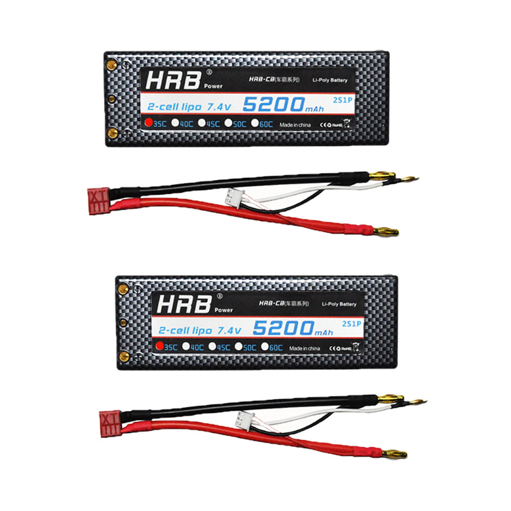 HRB 2pcs RC Hard Case 7.4V 5200mah 35C-70C with Banana Connector Battery Car Lipo 2S Battery Bateria For RC Car Truck Quadcopter hrb hard case banana connector lipo 2s battery 7 4v 5500mah 35c max 70c rc drone akku for rc car traxxas 1 10 truck quadcopter