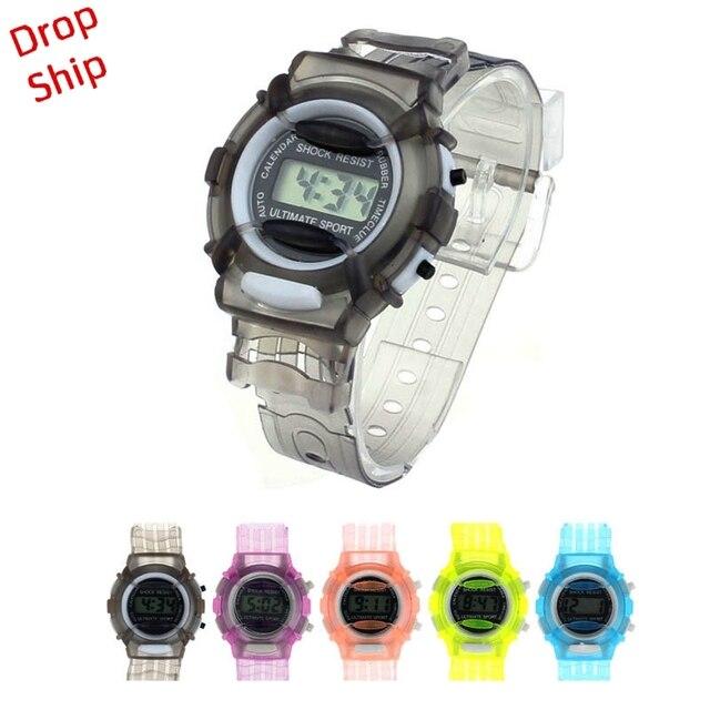 Модные Мальчики Девочки Дети Студенты Водонепроницаемый цифровой наручные часы Спорт доставка f5m30HY
