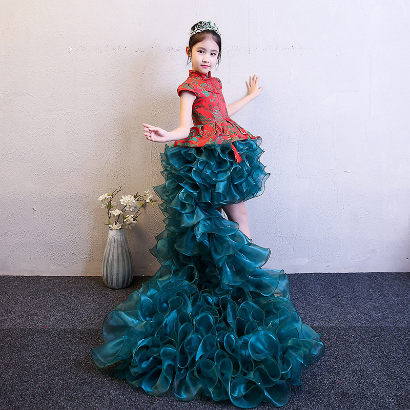 Green Girl Children Cheongsam Kids Princess Trailing Dress Play Piano Wedding Dresses Chinese New Year Costume Tutu Baby Fluffy