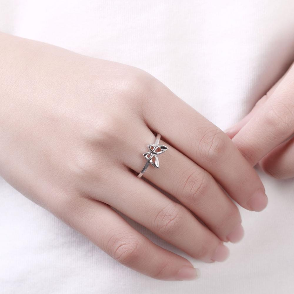 White Gold Butterfly Rings For Women Girls Wedding Christmas ...