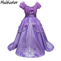Girls Sophia Long Hair Princess Dress Sophia Print Dress Costume Dress Children Summer 61
