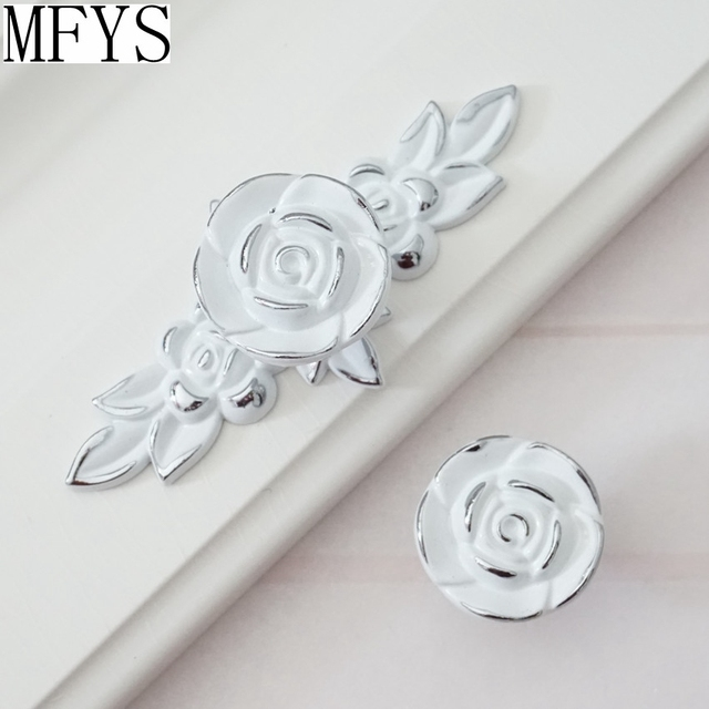 Superieur Shabby Chic Dresser Drawer Knobs Pulls Handles White Silver Rose / Flower  Kitchen Cabinet Knobs Handles