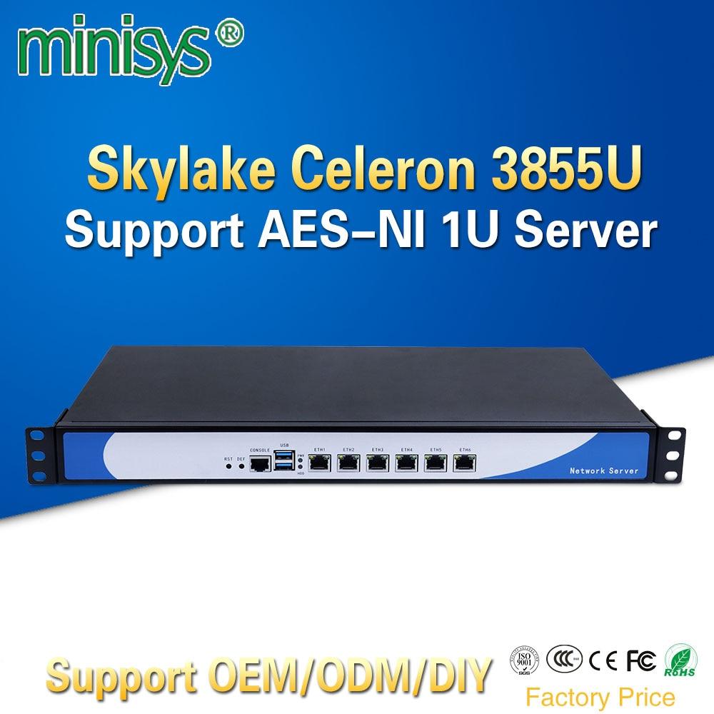 Minisys экономичный 6 GBe LAN стойки 1U процессор celeron 3855U сервер брандмауэр двухъядерный barebone pc Поддержка AES-NI SIM ...