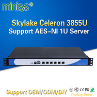 Minisys Economical 6 GBe Lans rack 1U celeron Processor 3855U Firewall server dual core barebone pc support AES NI SIM Slot