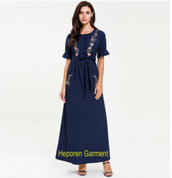 Large size women's short sleeved summer dress fashion pleated and stitching embroidery long skirt or long dress