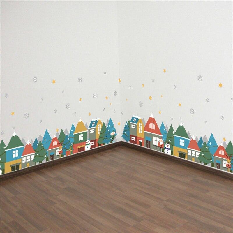 Санта Клаус село плинтус Наклейки на стену гостиной Спальня украшения дома наклейки DIY фестиваль росписи Книги по искусству Рождественский...