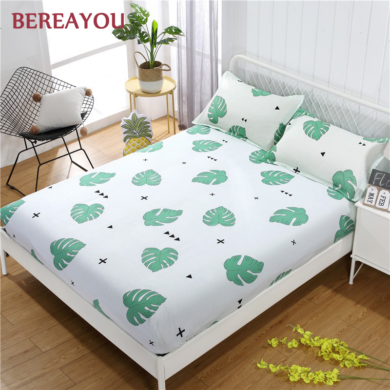 Korean Aloe Cotton Fitted Bed Sheets Plant Flower Queen Size Sheet Mattress Cover with Pillowcase drap housse