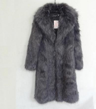 S/5Xl Men Long Section Large Size Imitation Fox Fur Outwears Warm Male Leisure Man-Made  ...