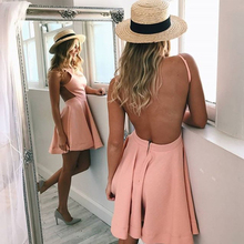 Bbonlinedress Sexy Backless Homecoming Dresses 2019 A-Line Pink Cocktail Satin Mini Party Dress Short Prom vestido