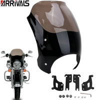 Smoke Windshield Headlight Fairing Shades Bullet with Trigger Lock Mount Kit for Harley Touring Road King Custom Classic FLHRC