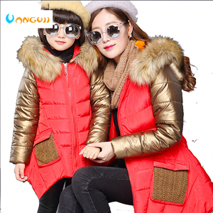Image 2 - 4 13 years old girls winter coat childrens down jacket hooded Fur collar stitching kids Outerwear thick warm parkas fashion