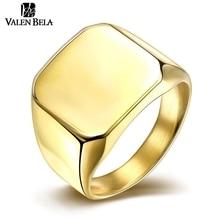 VALEN BELA Square Big 17mm Width Signet Rings 24K Gold Plated Fashion man Finger Silver Men Ring Titanium Steel Jewelry JZ5733