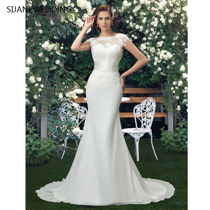 SIJANE Backless Elegance Sirène De Mariage Robes O-cou Dentelle Robe Banquet Costume Avec Décoration Florale De Mariée D 0361