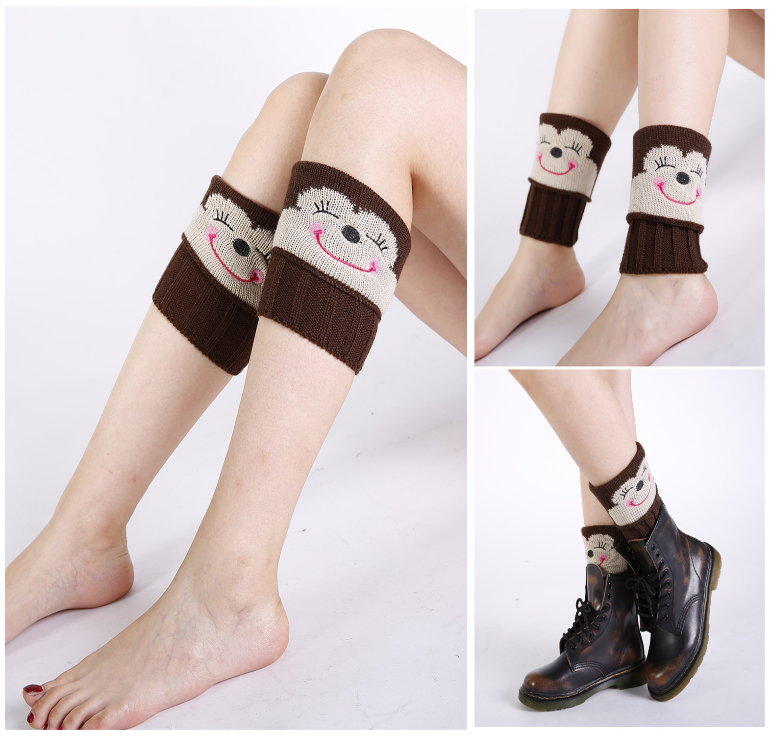 Fashion Autumn And Winter New Knitted Wool Socks Set Women's Short Flip Embroidery Handmade Monkey Warm Foot Cover Boots