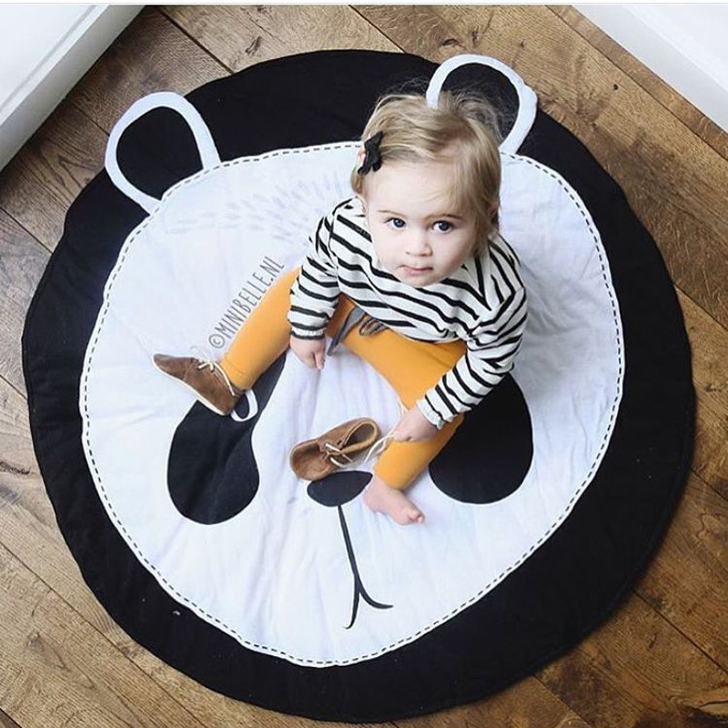 INS 94x87cm Size Black White Cute Panda Baby Crawling Blanket Round Cotton Floor Carpet  ...
