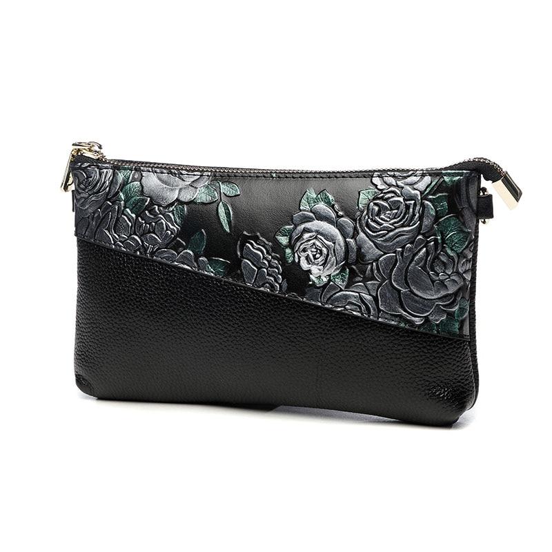 Lady Genuine Leather National Flowers Cover Envelop Bag Women Wristlet Crossbody Messenger Hand Clutch Bag Chains Shoulder Bag