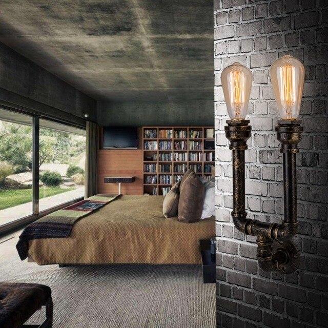 2 Köpfe Metall Wasser Rohr Retro Vintage Loft Wandleuchte Mit Edison/led  Lampe Leuchtet