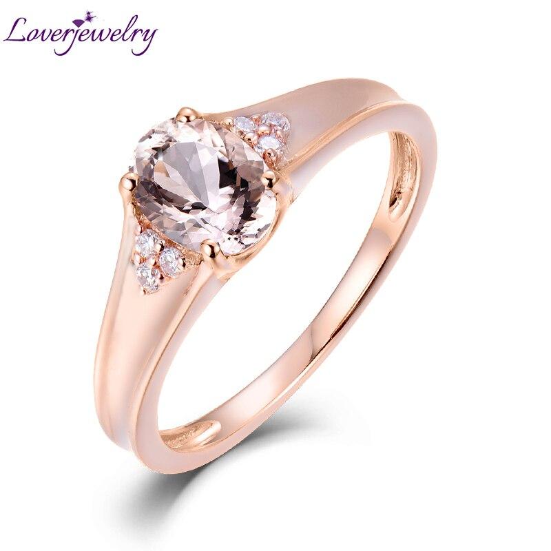 Loverjewlery Solide 14 K AU750 Or Rose Naturel Morganite Anneaux De Mariage De Diamant pour les Femmes Valentine Jour-Amende de Bijoux