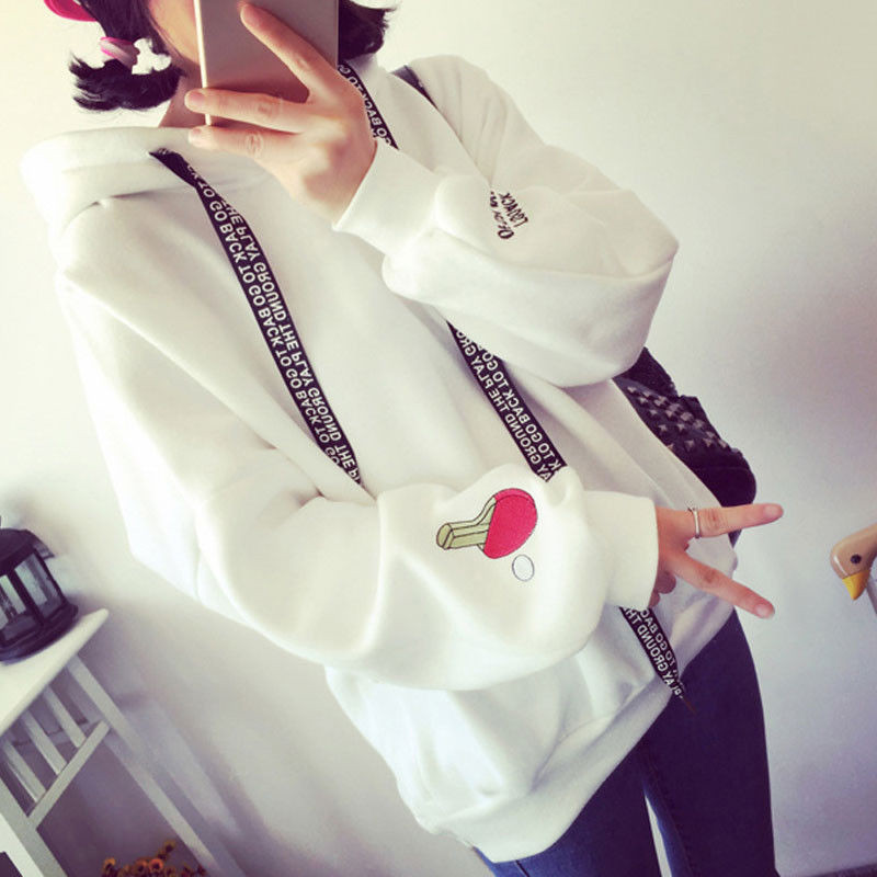 Wholesale S-XL Cute Women Hoodies Pullover 3 colors 2018 Autumn Coat Winter Loose Fleece Thick Knit Sweatshirt Female