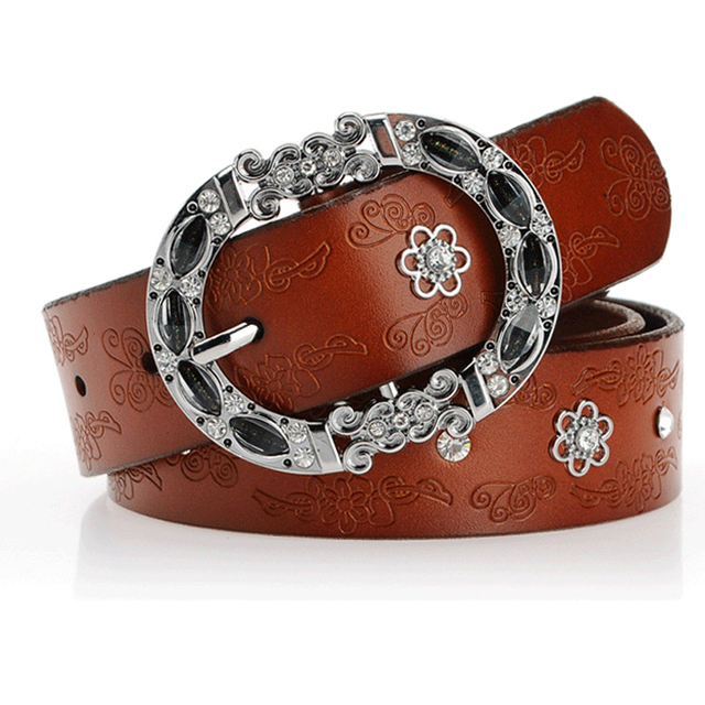 926edf5a75304 Aliexpress.com   Buy winter women jeans leather belt rhinestone buckle belts  for women genuine leather brown color fashioner design from Reliable belts  for ...