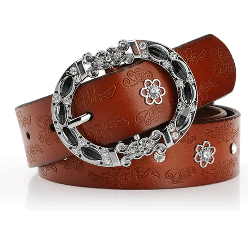 winter women jeans leather belt rhinestone buckle belts for women genuine leather brown color fashioner design