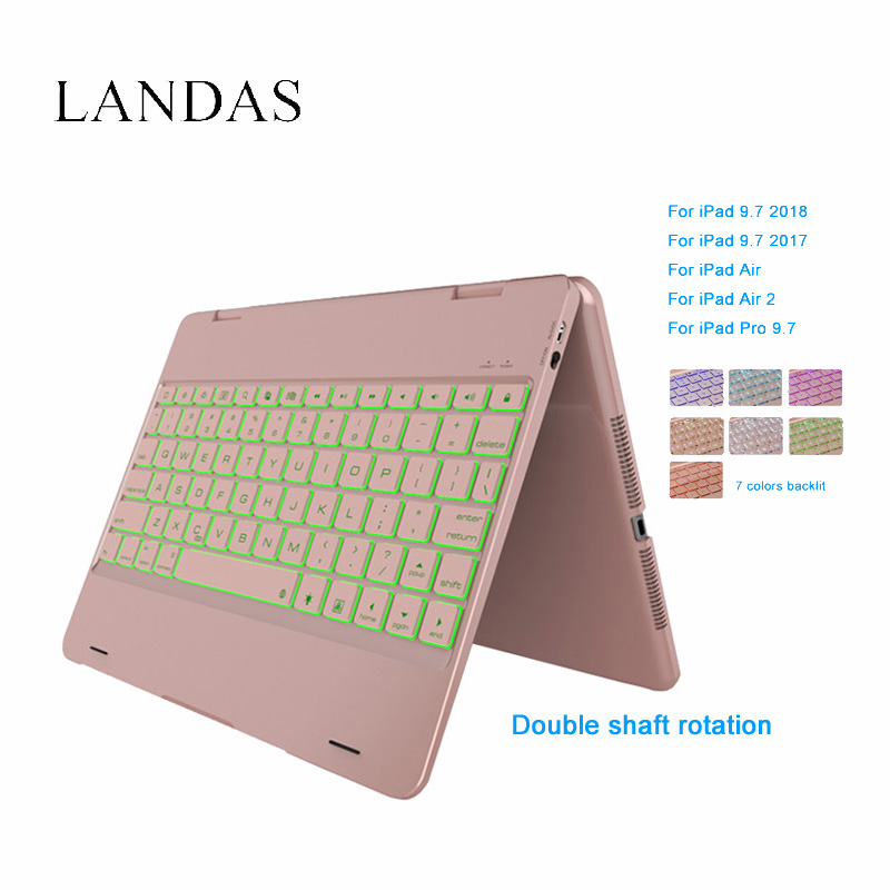 Landas For iPad Air 2 Keyboard Case Bluetooth Wireless LED Backlit Keyboard Cover For iPad Air A1566 A1567 Tablet 9.7 Inch tablet keyboard for ipad 2018 case cover bluetooth wireless backlit keyboard for ipad 2017 smart cover stand 9 7 inch 2018 case