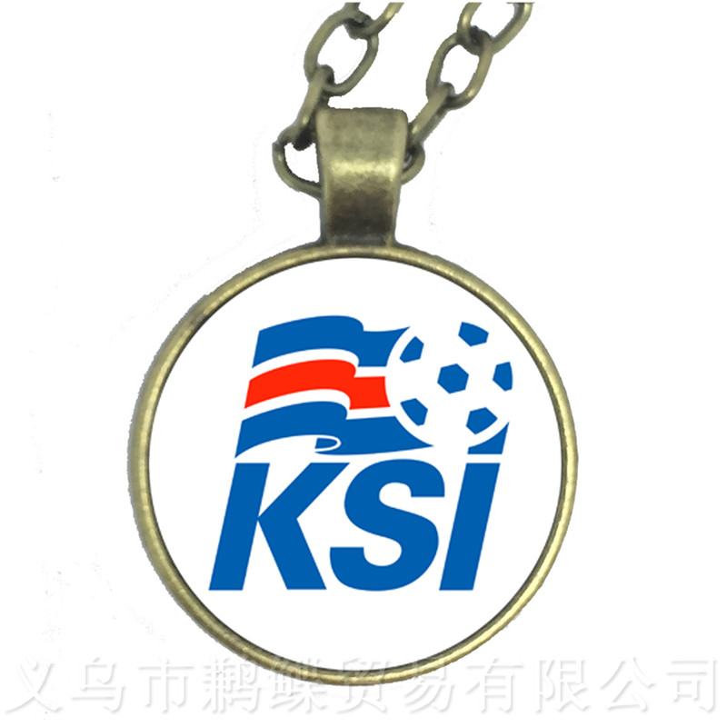 new style 0b040 9cde4 US $0.36 64% OFF|2018 Titan Cup Belgium/Germany/Denmark/Poland/Iceland  National Football Team Logo Football Necklace Fans Souvenir Gift-in Pendant  ...