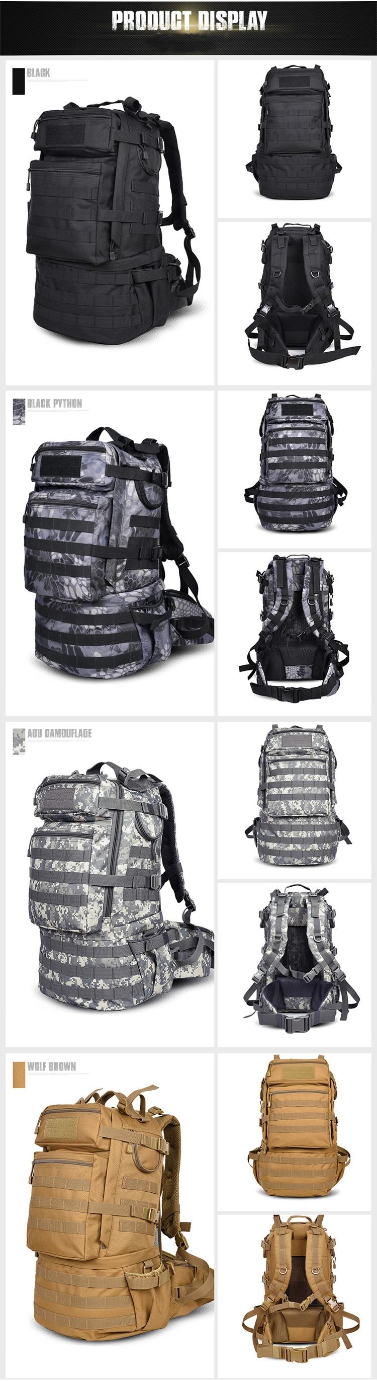 tático mochila de grande capacidade de acampamento