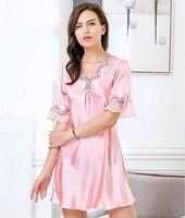 2018 Women Elegant Robe Gown Set Summer V Neck Women's Sleep Top Fake Silk Lace Nightgowns Femme Homewear