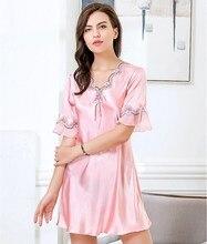2018 Women Elegant Robe Gown Set Summer V-Neck Women's Sleep Top Fake Silk Lace Nightgowns Femme Homewear