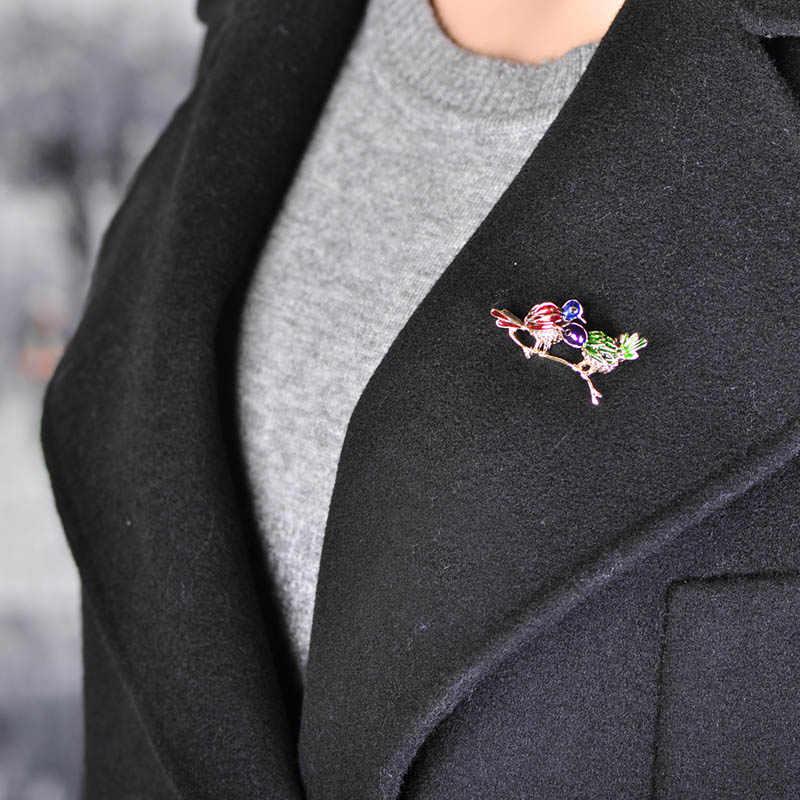 Blucome Kreatif Double Burung Bros Pin Paduan Enamel Rhinestone Pakaian Suit Kerah Kerah Pin Pasangan Hewan Bros untuk Wanita