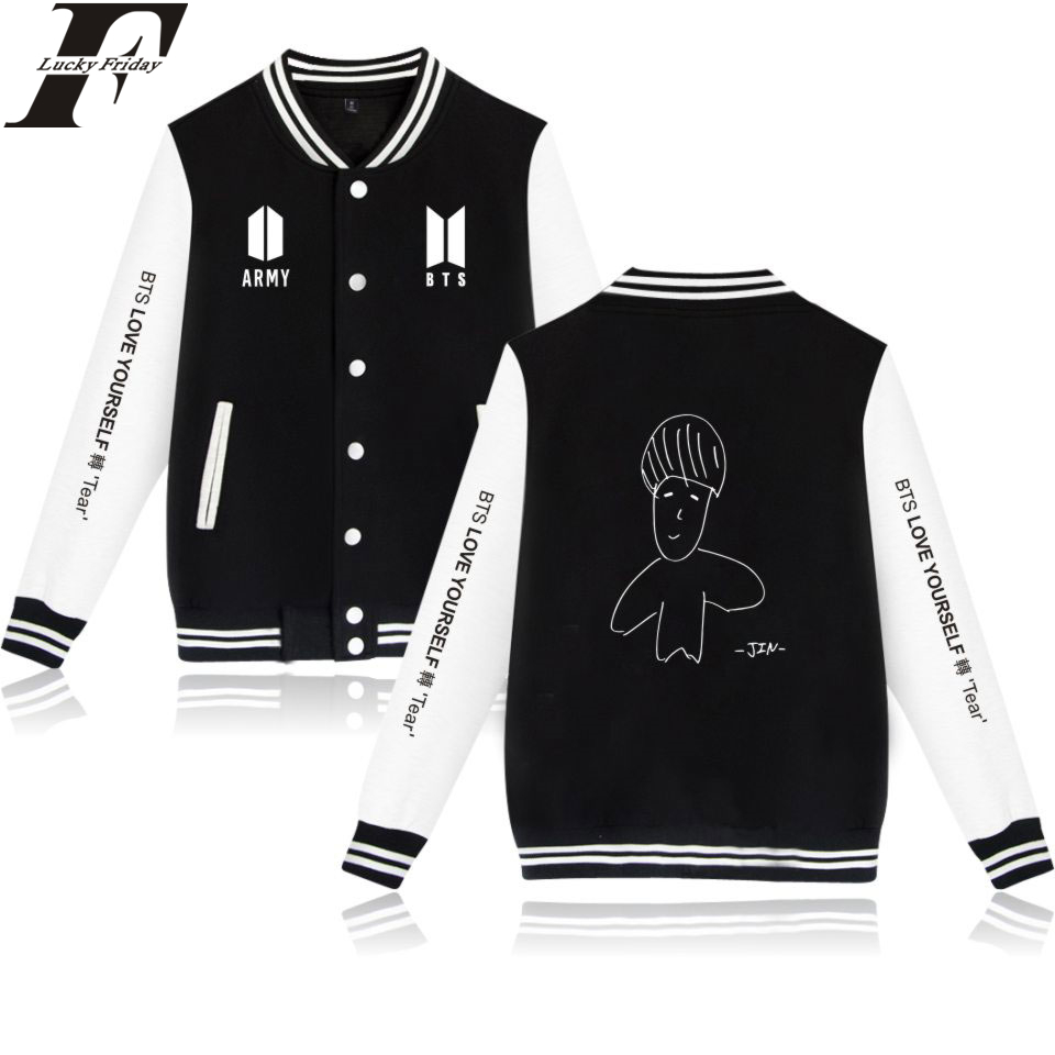 LUCKYFRIDAYF Self-portrait Baseball Jackets BTS Love Yourself Women/Men Sweatshirts Prin ...