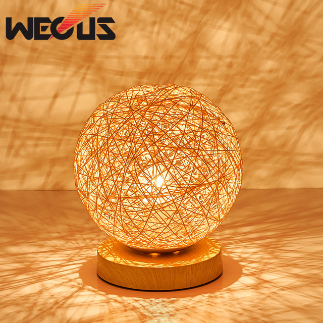 Country Round Desk Light Hemp Rope Ball Table Lamp Bedroom Hotel Decorative Lights Colorful Weave Lampshade Dia 20cm