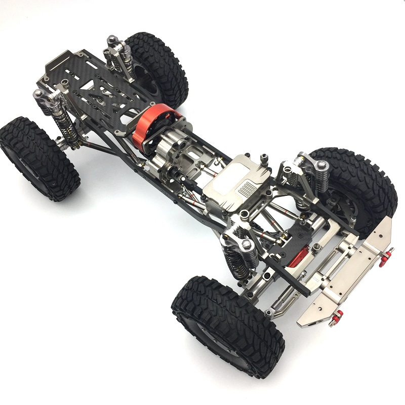 1/10 CNC Aluminum And Carbon Frame AXIAL SCX10 Chassis 313mm Wheelbase Gun Metal rc car crawlers frame bracket for axial scx10 adjustable wheelbase 313mm 305mm 290mm