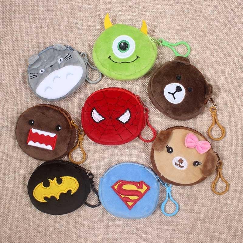 Cartoon Superman Spiderman Totoro Children Zipper Coin Purses Girls Mini Change Plush  Purse Mini Wallet Small Pouch Handbag Bag