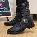 Negro Botas Altas Botas de Moda Botas de Los Hombres Personalizados Remaches Otoño Invierno Motocicleta Botas de Cuero Zapatos de Los Hombres