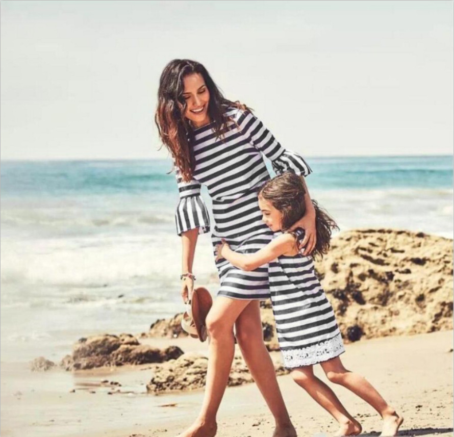 Dress Mommy Fashion And White Black Striped for Daughter Spring Summer Bell-Sleeve Slim