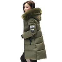 Warm Fur Fashion Hooded Quilted Coat Winter Jacket Woman 2017 Solid Color Zipper Down Cotton Parka