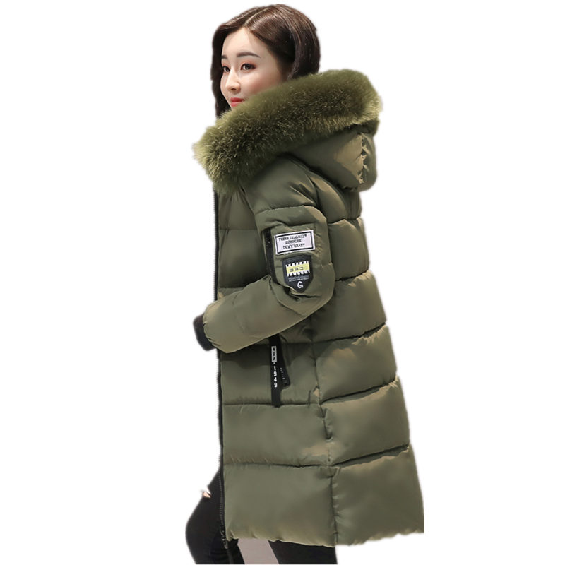 Warm Fur Fashion Hooded Quilted Coat Winter Jacket Woman 2017 Solid Color Zipper Down Cotton Parka Plus Size 3XL Outwear C3748 free shipping winter jacket men down parka warm coat hooded cotton down jackets coat men warm outwear parka 225hfx