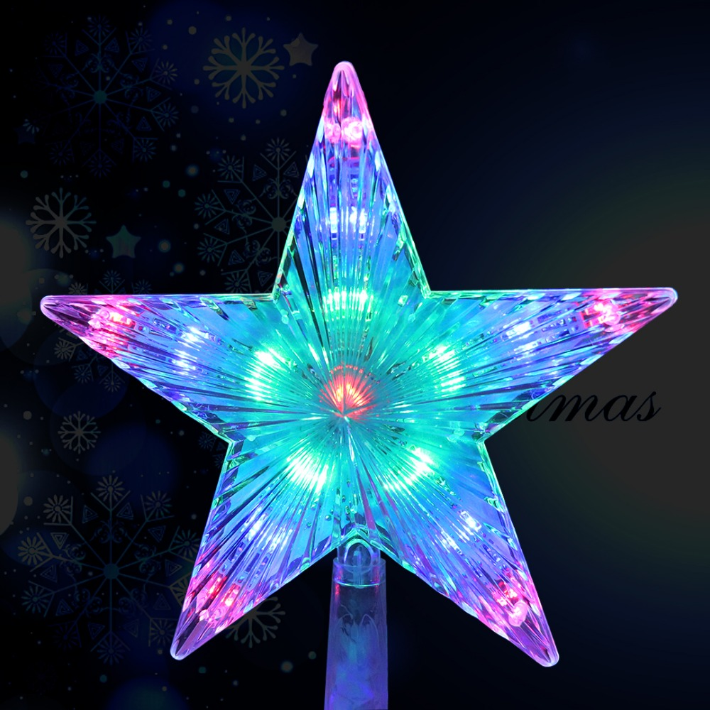 LED Star Light Meteor Five-pointed Lamp Christmas Tree Top Lights For Xmas Wedding Fairy Decorative Lights 220V EU Plug JQ