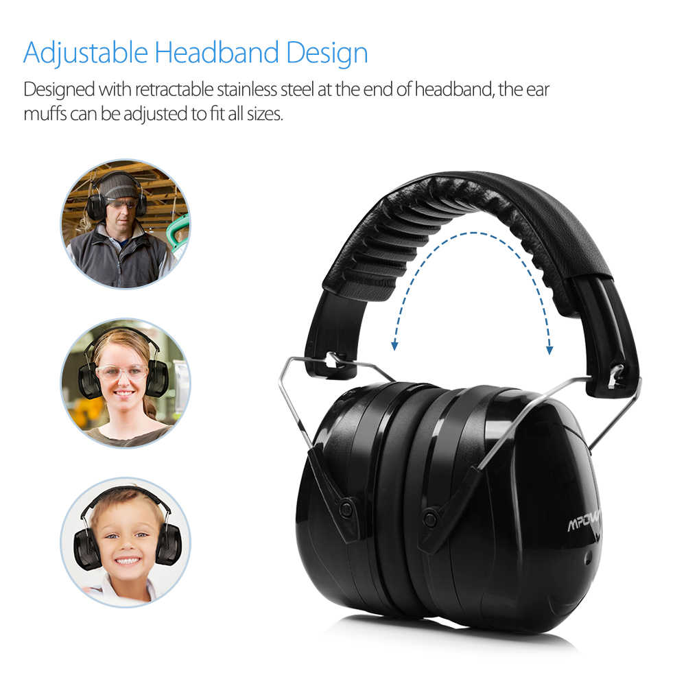Color : Black, Size : Free size Noise Isolators Professional Soundproof Earmuffs Anti-noise Learning Adult Hearing Protection Foldable Portable