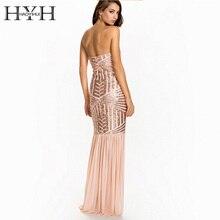 HYH haoyihui Женское платье без бретелек элегантный окунуться Средства ухода за кожей шеи Bodycon рукавов Высокая талия блестками спинки длинное платье vestidos