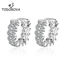 Todorova New Arrival Luxurious Hoop Earring Ladies Fashion Shining Crystal Zircon Earrings for Women Wedding Accessories