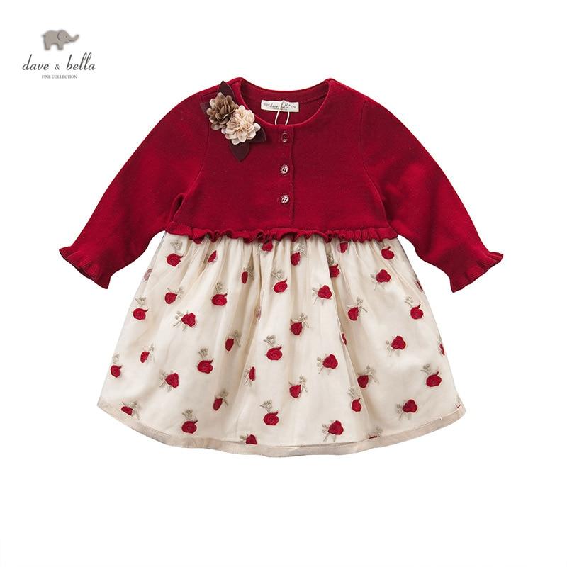 DB4077 dave bella automne automne bébé fille robe de mariée roses rouges broderie fleur appliques robe