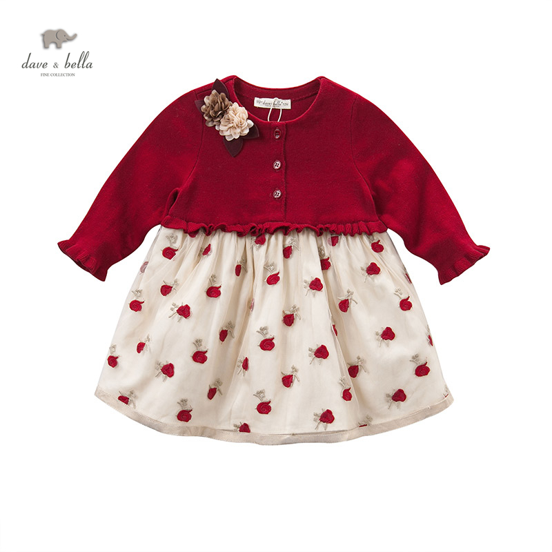 DB4077 dave bella autumn fall baby girl wedding dress red roses embroidery flower appliques dress shirred bardot embroidery dress