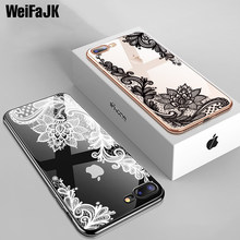 WeiFaJK Original Silicone Phone Case For iPhone 7 6 6s Plus Cases Lace Flower Soft TPU Back Cover For iPhone Case 7 8 Plus X 5s(China)
